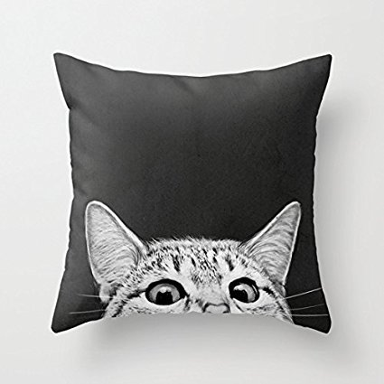 "18"" x 18"" You Asleep Yet Cat Decorative Throw Pillow Case Cushion Cover"